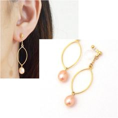 Orange Freshwater Pearl Invisible Clip On Earrings Natural Comfortable Hoop Non Pierced