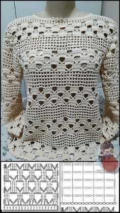Crochet Bolero Pattern, Crochet Tunic, Crochet Diagram, Crochet Stitches Patterns, Crochet Clothes, Crochet Lace, Crochet Tops, Easy Crochet, Mode Crochet