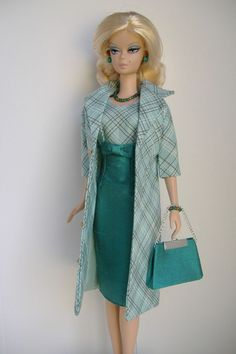 Handmade Coat and Dress for Silkstone Fashion Model Barbie slim body