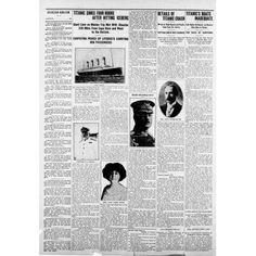 Newspaper Republic News item 18 April 1912 Titanic sinks 4 hours after hitting iceberg Canvas Art - (24 x 36)