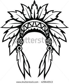 Find Native American Indian Headdress Vector Illustration stock images in HD and millions of other royalty-free stock photos, illustrations and vectors in the Shutterstock collection. Native Drawings, Art Drawings Sketches, Native American Patterns, Native American Indians, Hilograma Ideas, Indian Wall Art, Native American Headdress, Indian Skull, Leather Tooling Patterns