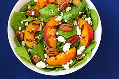grilled peaches, arugula and feta salad - perfect for summer! Pair with Red Moscato.