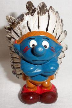 1981 Peyo Schleich Smurf Indian PVC Figure #Schleich