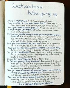 When we are so exhausted and disillusioned with life that we want to give up . - bullet journal - up - maaghie When we are so exhausted and disillusioned with life that we want to give up . - bullet journal - up Bullet Journal Ideas Pages, Journal Prompts, Bullet Journal Inspiration, Journals, Life Journal, Notebooks, Mental Health Journal, Bullet Journal Health, Self Care Bullet Journal