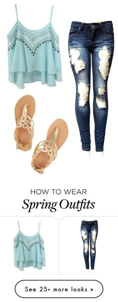 Cute spring outfit that is more for girly girls! This is more revealing as the stomach bottom and most of the top of back is seen. Komplette Outfits, Outfits For Teens, Casual Outfits, Fashion Outfits, Fashion Trends, Fashion 2016, Fashion Ideas, Cute Fashion, Look Fashion