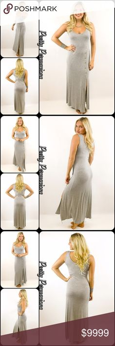 "NWT Heather Gray Button Slit Maxi Dress NWT Heather Gray Button Slit Maxi Dress   Available in size: Medium  Length: 56"" Bust: 36"" Hips: 40""  95% Rayon; 5% Spandex   Features:  • relaxed, easy fit • very soft material with stretch • scooped neckline  • 5 button detailing at top of slit on left side of dress starting from the hip down • sleeveless  Bundle discounts available  No pp or trades   Item # 1/106120390GMD heather gray button slit maxi jersey soft stretch Pretty Persuasions Dresses…"