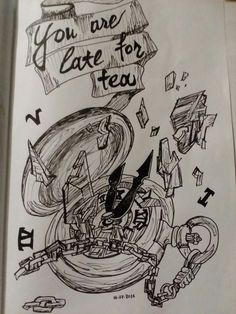 Late for tea broken clock doodle