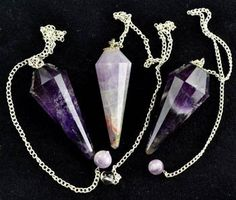 Set of 3 12 Facet Pendulums 12 Facet AAA Grade Natural Crystal Pendulums:Amazon:Everything Else