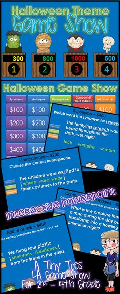 Looking for an exciting way to review Synonyms, Antonyms, Homophones, Compound Words, and -s/-es for Second thru Fourth Grade? Here it is..and in a fun, INTERACTIVE powerpoint! With 25 practice problems, in a game show setting, your students will get lots of review. You're going to LOVE the Halloween themed characters and questions! $