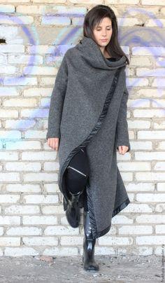 """Купить Пальто """"Асимметрия"""" C0002 - серый, длинное пальто, женское пальто, шерстяное пальто"""