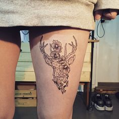 deer + flower  close -up  #tattoo #tattoos #ink #deertattoo #flowertattoo…