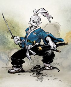 cartoons japan Excerpt from TheSakai Project: Artists Celebrate Thirty Years of Usagi Yojimbo- Bill Sienkiewicz Ninja Turtles Art, Teenage Mutant Ninja Turtles, Comic Manga, Anime Comics, Comic Books Art, Comic Art, Usagi Yojimbo, Batgirl Costume, Arte Nerd