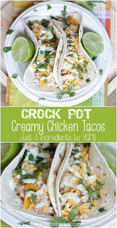 3 Ingredient Crock Pot Creamy Chicken Tacos Recipe - So easy, so delicious! Perfect for a busy weeknight!