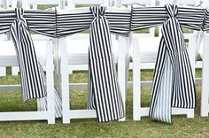 This chair sash for your wedding reception is very Kate Spade in look.  Running stripes in both directions on the chair says that you buck the system and are thinking outside of the box.  www.celebrationsbykat.com