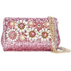 Dolce & Gabbana Anna clutch (€2.805) ❤ liked on Polyvore featuring bags, handbags, clutches, pink, leather man bags, leather purses, man bag, sequin purse and pink purse