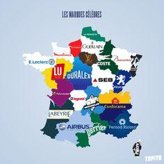 Les marques célèbres de nos régions | Top 13 des cartes de France vue autrement, c'est vrai que ça change