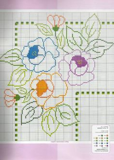 Colored roses for angled pattern cross stitch pattern - free cross stitch patterns crochet knitting amigurumi Cross Stitch Tree, Cross Stitch Borders, Cross Stitch Flowers, Cross Stitch Charts, Cross Stitch Designs, Cross Stitching, Cross Stitch Embroidery, Embroidery Patterns, Hand Embroidery