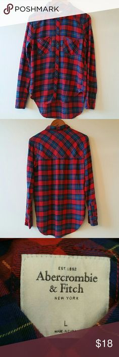 NWOT Abercrombie &Fitch flannel Long sleeve, button front, red, dark green, blue, purple and yellow plaid print flannel. Never worn, new without tags. Abercrombie & Fitch Tops Button Down Shirts