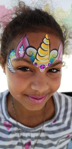 51 Unicorn Painting Ideas For Kids - Art Face Painting Unicorn, Girl Face Painting, Unicorn Drawing, Face Painting Designs, Painting For Kids, Body Painting, Fairy Stencil, Kitty Face Paint, Animal Face Paintings