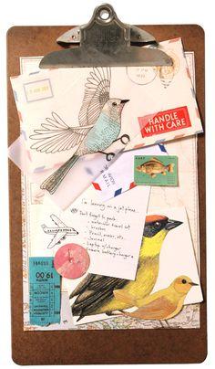 Technique for temporary collage or brainstorming, by Geninne Zlatkis Mixed Media Collage, Collage Art, Altered Books, Altered Art, Envelopes, Envelope Art, Illustration, Art Graphique, Art Journal Inspiration