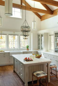 I WANT THAT SPOON CHANDELIER!!!!! Heirloom Farmhouse, Hutker Archetect Love the island