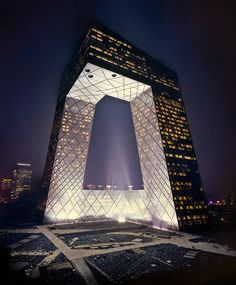 CCTV Building Beijing | OMA    One of China's biggest icon the new controversial CCTV HQ Building on the first day of test lighting.