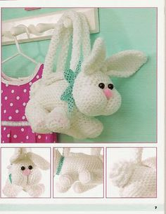 Amigurumi White Crochet Easter Bunny Purse by KidzWorld on Etsy