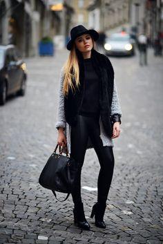 OUTFIT OF THE DAY HAT : H&M BAG : Gucci SHOES : Balenciaga LEGGINGS : Zara COAT : Zara RING : Alex Mika