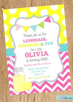 Vintage LEMONADE Bright Printable Birthday Invitation, Vintage Pink Lemonade Birthday Party Invite on Etsy, $13.50
