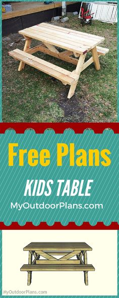 Easy to follow kids picnic table plans - Learn how to build a wooden kids picnic table for your garden with my step by step instructions and tips! Free plans at: www.myoutdoorplans.com #picnictable #table