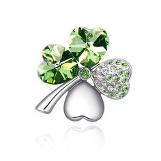 Silver Swarovski Elements Crystal Diamond Accent Four Leaf Clover Brooch Brooches Pins for women,Vintage Jewellery Poppy Remembrance, with a Gift Box - http://www.spiritualgemstonejewelry.com/silver-swarovski-elements-crystal-diamond-accent-four-leaf-clover-brooch-brooches-pins-for-womenvintage-jewellery-poppy-remembrance-with-a-gift-box/