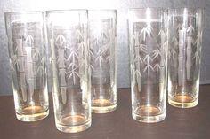 (5) 1950's Noritake Sasaki Bamboo Cut Crystal Tom Collins Bar Glasses Clear  #Noritake