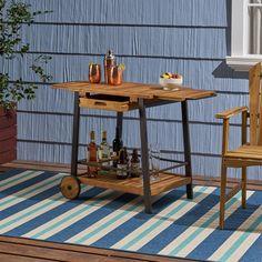 Outdoor Bar Cart, Outdoor Serving Cart, Outdoor Wooden Bar, Wine Bottle Holders, Wine Bottles, Winsome Wood, Patio Bar, Deck Bar, House Deck
