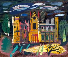 'Cambusnethan Priory' by Ed Kluz (mixed media collage) Collage Techniques, Quirky Art, Historical Architecture, Children's Book Illustration, Urban Landscape, Altered Art, Home Art, Art Projects, Artsy