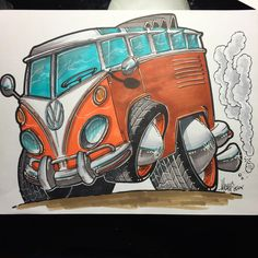 Micahdoodles.com Vw bus drawing . Prints available