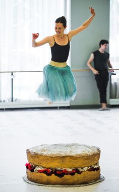 Jillian Vanstone jumps for joy in rehearsal for Alice's Adventures in Wonderland. Photo by Aaron Vincent Elkaim.