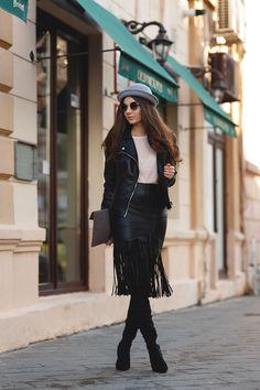 Bold- Black Leather Jacket, Black Leather Fringed Pencil Skirt, Black Tights, Ankle Boots, Bowler Hat