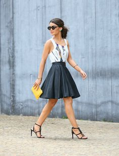 www.streetstylecity.blogspot.com Fashion inspired by the people in the street ootd look outfit sexy heels legs woman girl leather skirt miniskirt