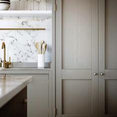 Greige kitchen, marble, brass tap