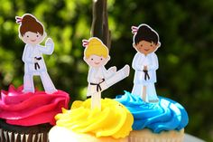 Karate Party Cupcake Toppers Girl Martial Arts by PaperPartyParade