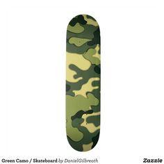 Green Camo / Skateboard - Supreme Hard-Rock Maple Deck Custom Boards By Talented Fashion & Graphic Designers - #skating #skater #skateboarding #shopping #bargain #sale #stylish #cool #graphicdesign #trendy #design #designer #graphicdesigner #style