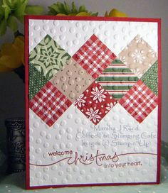 """SCCC44  Stamp Set:  Heard from the Heart (retired); Ink:  Cherry Cobbler; Card Stock:  Cherry Cobbler, Whisper White, Trim the Tree; Accessories & Tools:  1"""" Square Punch, Decorative Dots Embossing Folder, SNAIL Adhesive, Stampin' Trimmer, Big Shot Die-Cutting Machine"""
