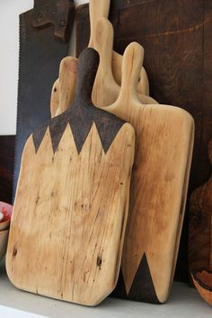 Cheeseboards made from reclaimed, antique flooring.