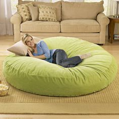 Giant Bean Bag Chair Lounger from Picsity.com - This is what we need in the living room! I wonder how much fill it would take!