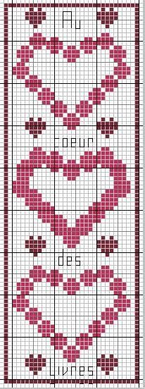 "Voici une nouvelle grille pour vous Un marque page ""Au coeur des livres"" Cross Stitch Bookmarks, Cross Stitch Heart, Cross Stitch Alphabet, Cross Stitch Designs, Cross Stitch Patterns, Quilt Patterns, Tapestry Crochet, Plastic Canvas Patterns, Filet Crochet"