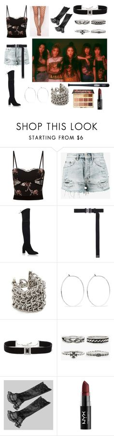 """""""Yes, I'm bad. So what?"""" by angel01s ❤ liked on Polyvore featuring La Perla, Ksubi, Stuart Weitzman, Alyx, Alexander Wang, Catbird, Kenneth Jay Lane, Cold Steel, NYX and tarte"""