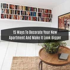 15 Ways To Decorate Your New Apartment And Make It Look Bigger Your first apartment may not be the biggest or it probably is not e. First Apartment, Easy Home Decor, Decor Ideas, Decorating, Living Room, How To Make, Diy, Do It Yourself, Decoration