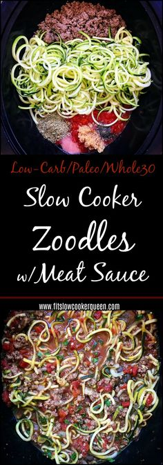 Zoodles and a homemade meat sauce cook together in this healthy paleo and whole30 slow cooker recipe. With only a few main ingredients it's a great low-carb alternative to spaghetti.