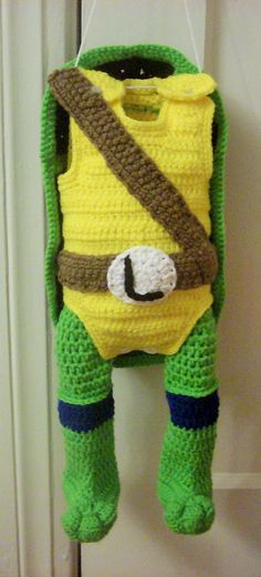 New crochet baby cocoon boy ninja turtles Ideas - top crop , polos cortos , dresses , summer crochet - Crochet Halloween Costume, Crochet Costumes, Crochet Dolls, Crochet For Boys, Love Crochet, Knit Crochet, Crochet Baby Cocoon, Crochet Baby Clothes, Crochet Ninja Turtle