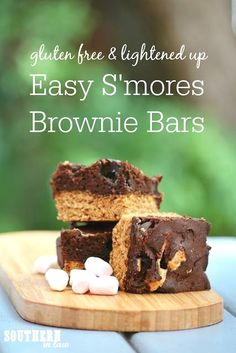 This Easy S'mores Br  This Easy S'mores Brownie Bars Recipe combines a graham cracker inspired cookie base and a rich and fudgy brownie top with marshmallows and crispy, chewy edges. A delicious dessert or snack idea that is perfect for a birthday party or anytime. This recipe is gluten free, nut free, soy free and lightened up to be lower in fat and sugar.